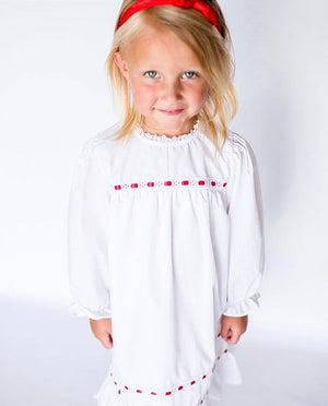 Little Louanne | Christmas White Red Ribbon Long Sleeve Night Gown