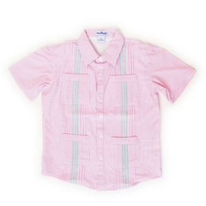 Blue Quail Clothing Co | Windowpane Guayabera | Pink / Mint