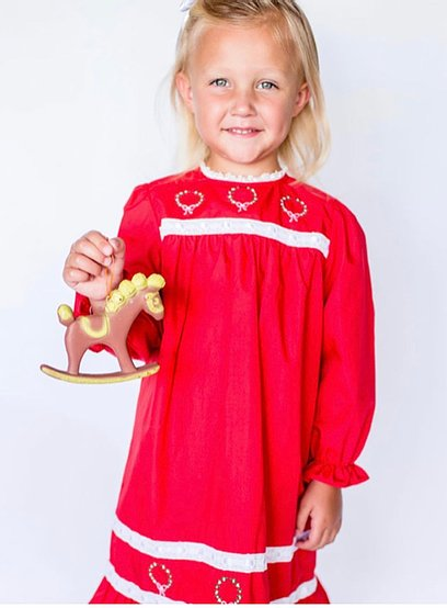 Little Louanne | Winefred Red Wreath Long Sleeve Night Gown