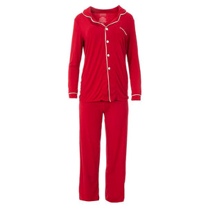 Kickee Pants | Winter Celebrations Women's Long Sleeve Collared Pajama Set | Crimson / Natural (NEW)