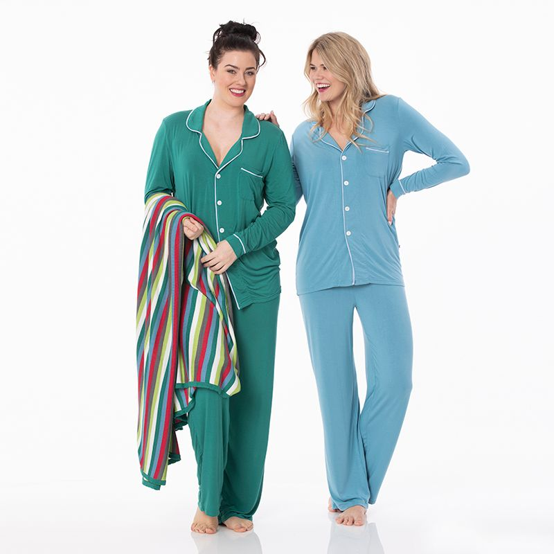 Kickee Pants | Winter Celebrations Women's Long Sleeve Collared Pajama Set | Blue Moon / Frost (NEW)