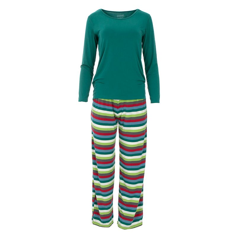 Kickee Pants | Winter Celebrations Women's Loosey Goosey Pajama Set | Multi Stripe (NEW)