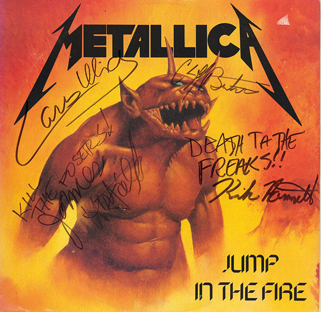 Metallica Band Autographed Jump In The Fire Music For Nations Album - Zion Graphic Collectibles