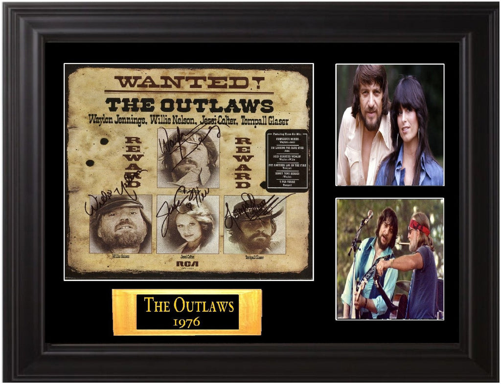 The Outlaws, Willie Nelson, Waylon Jennings, Autographed LP - Zion Graphic Collectibles
