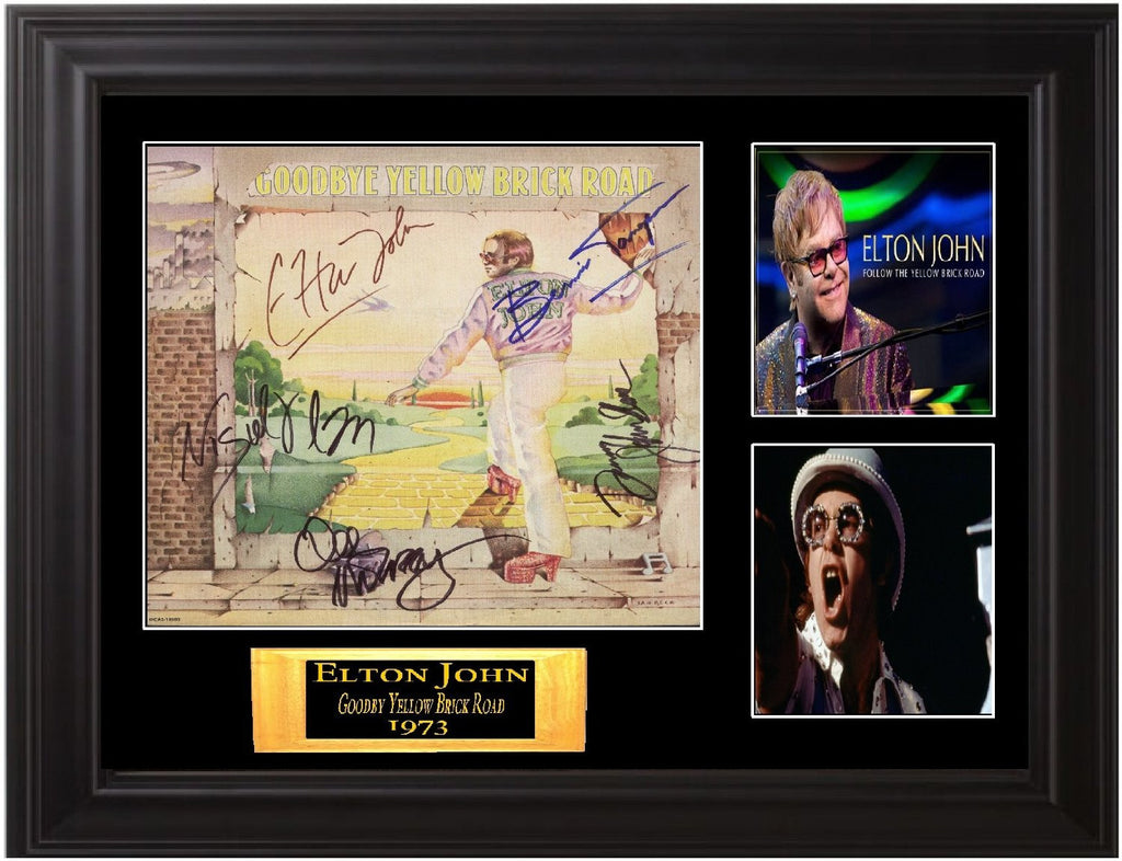 "Elton John Framed Autographed Lp ""Goodbye Yellow Brick Road"""