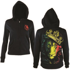 Fierce Rasta Lion and Crown Black Hoodie - Women's - Zion Graphic Collectibles