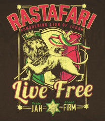 Rastafari Lion of Judah Live Free Chocolate T-Shirt - Men's - Zion Graphic Collectibles
