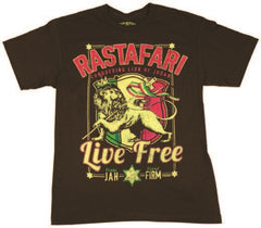 Rastafari Lion of Judah Live Free Chocolate T-Shirt - Men's