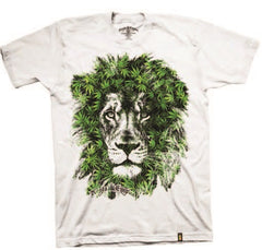 Lion Marijuana Leaves White T-Shirt – Men's