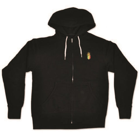 Crowned Lion of Judah Black Zip Hoodie - Men's