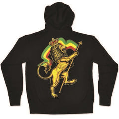 Crowned Lion of Judah Black Zip Hoodie - Men's - Zion Graphic Collectibles