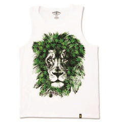 Lion Marijuana Leaves White Tank Top – Men's