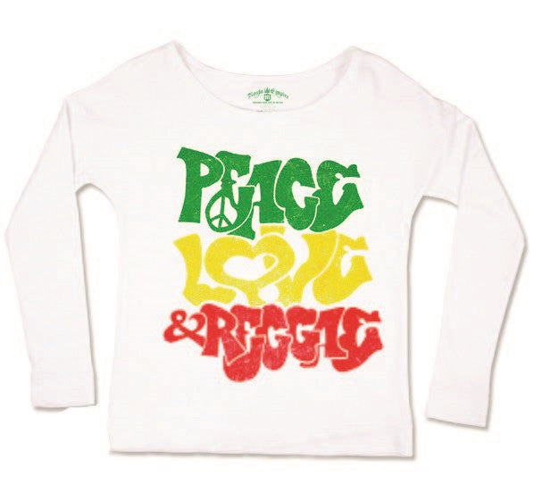 Peace Love & Reggae White Long Sleeve Top – Women's - Zion Graphic Collectibles