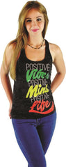 Positive Life Black Burnout Tank Top - Women's - Zion Graphic Collectibles