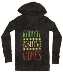 Radiate Positive Vibes Hooded Long Sleeve Shirt – Women's - Zion Graphic Collectibles