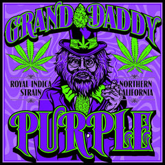 Granddaddy Purple Strain - Blacklight Sticker - Zion Graphic Collectibles