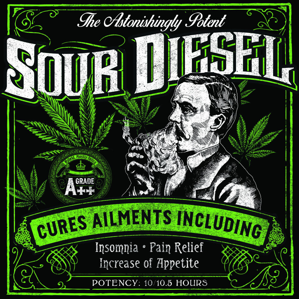 Sour Diesel Strain - Blacklight Sticker