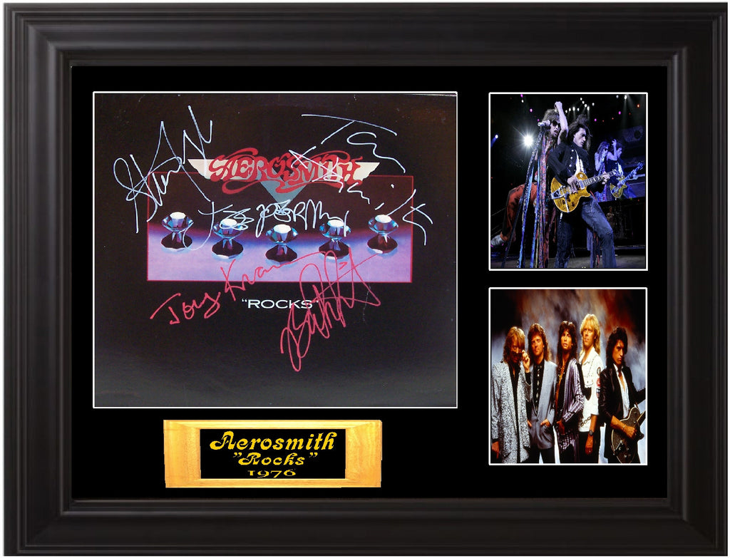 "Aerosmith Framed Autographed Lp ""Rocks"""