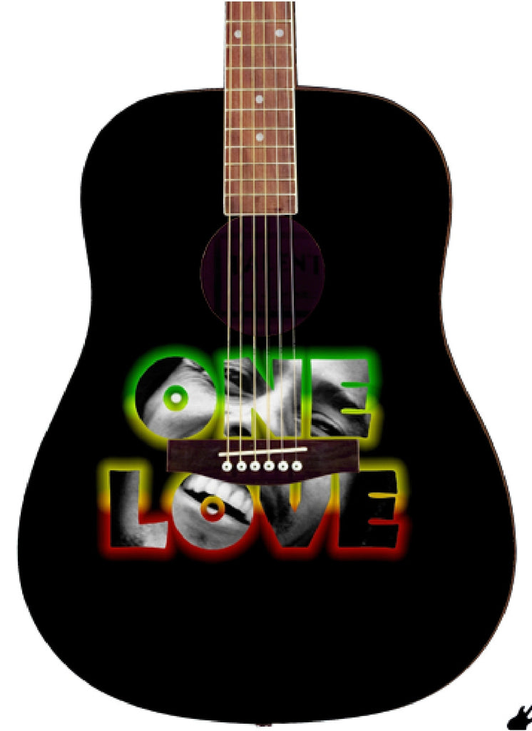 Bob Marley Custom One Love Guitar - Zion Graphic Collectibles