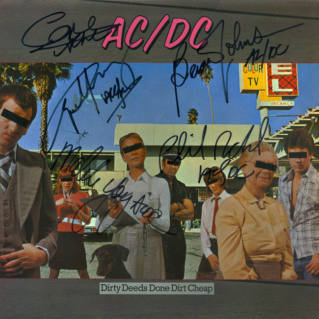 ACDC Band Signed Dirty Deeds Done Dirt Cheap Album - Zion Graphic Collectibles