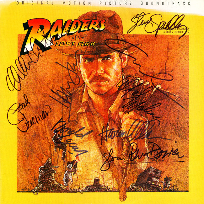 Raiders Of The Lost Ark Cast Signed by 9 Movie Soundtrack - Zion Graphic Collectibles