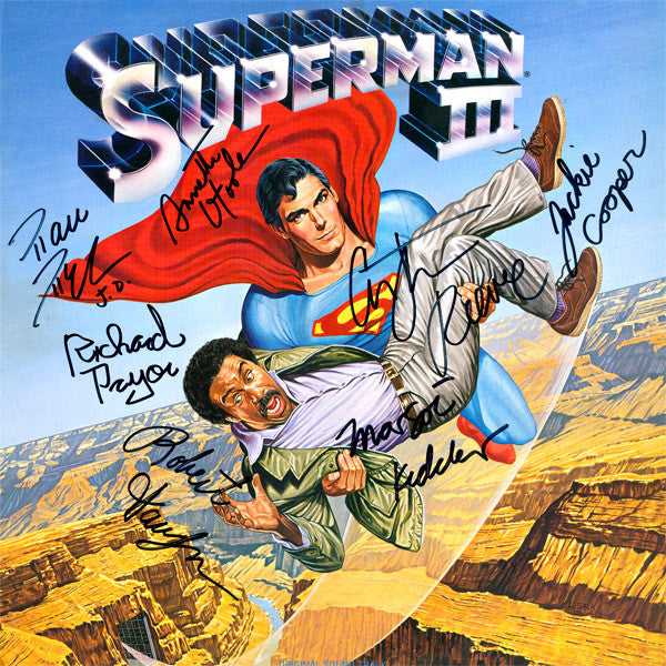 Superman III Cast Signed by 7 Movie Soundtrack