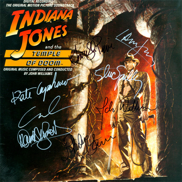 Indiana Jones And The Temple Of Doom Cast Signed by 7 Movie Soundtrack
