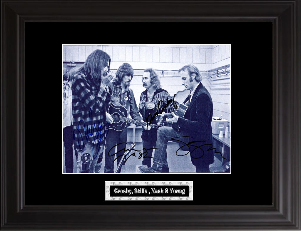 Crosby , Stills , Nash & Young Autographed Photo - Zion Graphic Collectibles
