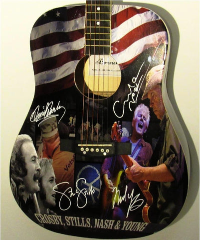Crosby Stills Nash & Young Autographed Guitar