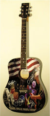 Crosby Stills Nash & Young Autographed Guitar - Zion Graphic Collectibles