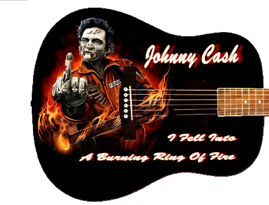 Johnny Cash Custom Guitar - Zion Graphic Collectibles