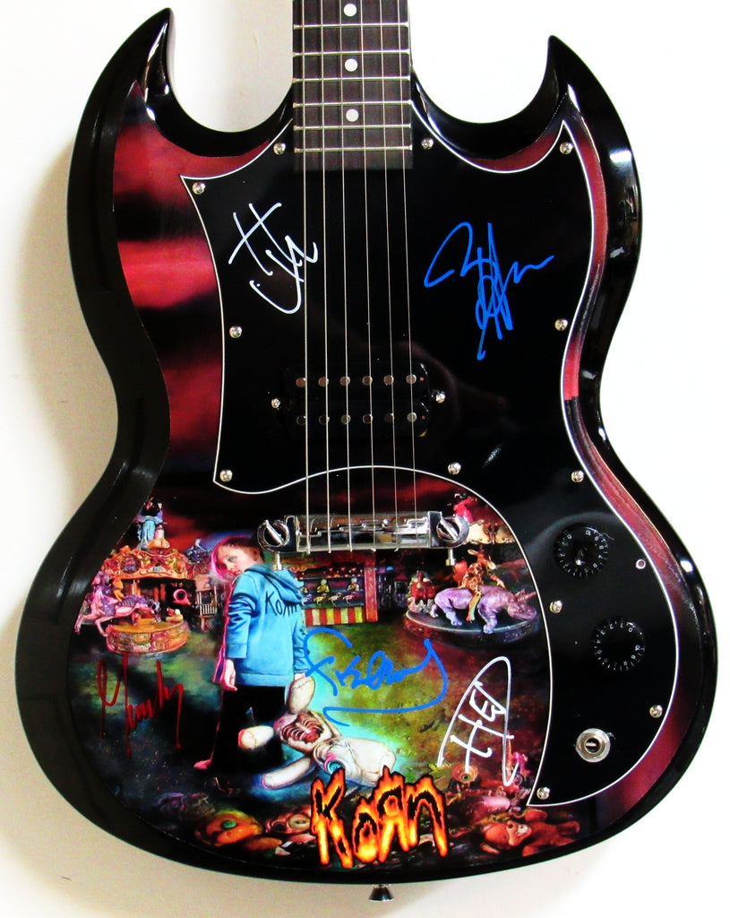 Korn Autographed Guitar - Zion Graphic Collectibles