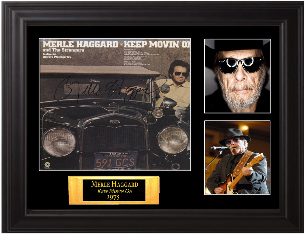 "Merle Haggard Autographed Lp ""Keep Movin' On"" - Zion Graphic Collectibles"