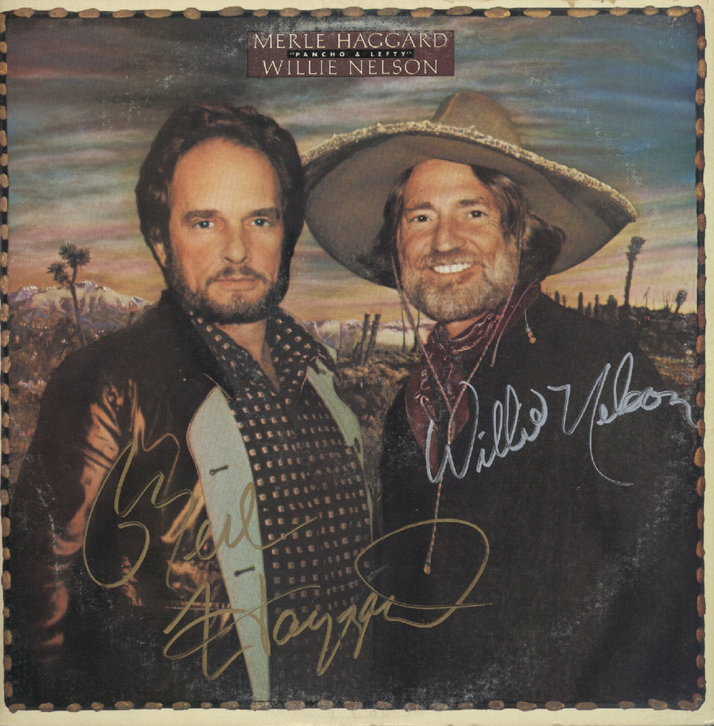 Mearl Haggard & Willie Nelson Autographed LP - Zion Graphic Collectibles
