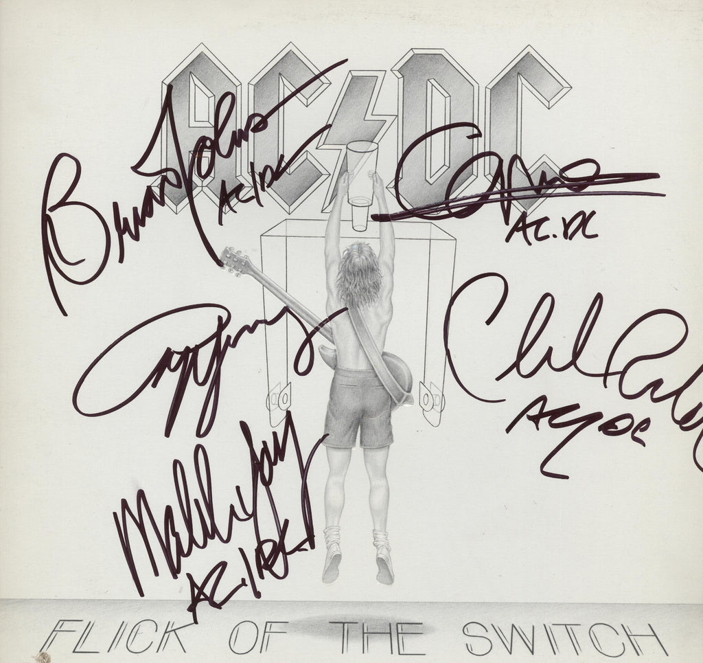 "AC/DC Autographed lp ""Flick of the Switch"" - Zion Graphic Collectibles"