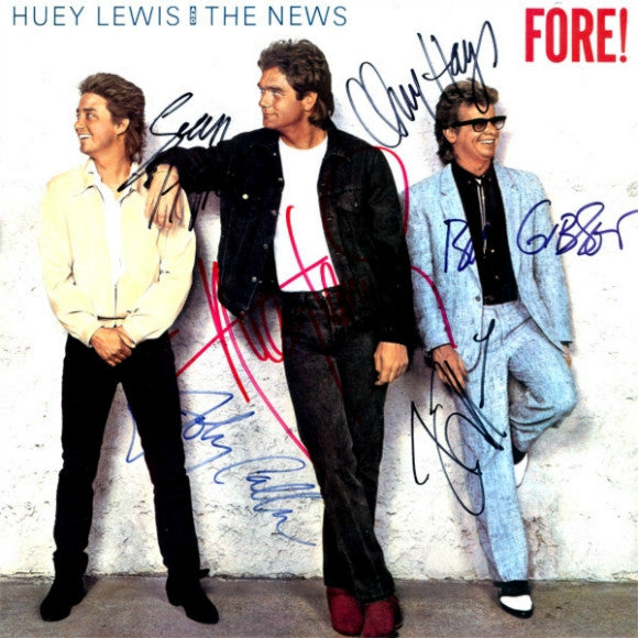 Huey Lewis And The News Band Signed Fore! Album - Zion Graphic Collectibles