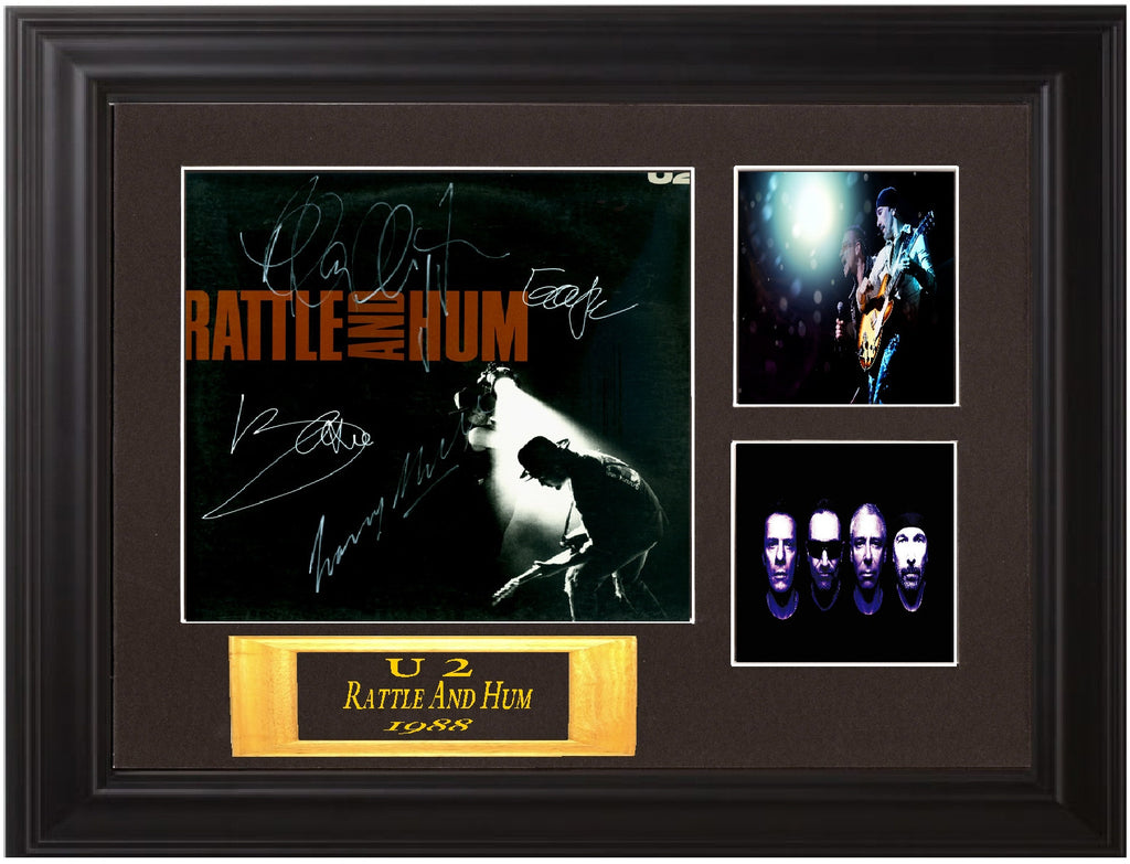 U 2 Autographed rattle and hum lp - Zion Graphic Collectibles