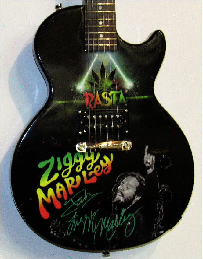 Ziggy Marley Autographed Custom Guitar - Zion Graphic Collectibles