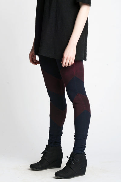 Arrowhead Leggings- Dark Navy and Burgundy - Skinny Sweats - 1