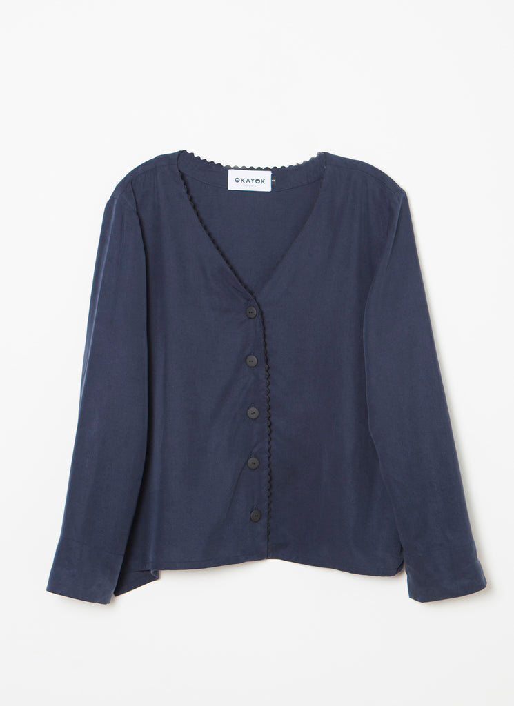 GAIGE Trimmed Blouse - Navy Blue