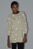Reflective Polka Dot Sweatshirt - Cream - Skinny Sweats - 2