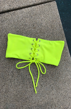 Lace Up Bandeau Top In Neon