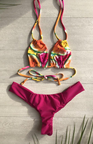 Watermelon Print Seamless Camille Top with Double Ties made by SULTRY SWIMWEAR®