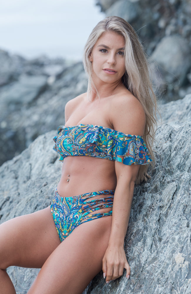 High Waisted Bikini Bottoms in our Paisley All Day Collection made by SULTRY SWIMWEAR®