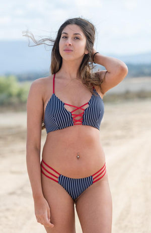 Lace Up Bikini Top in Red White and Blue
