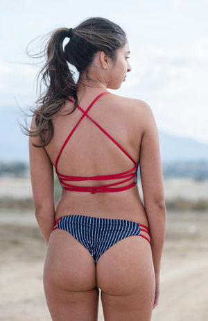 Skye Bottom In Navy/White Pin Stripes Braided