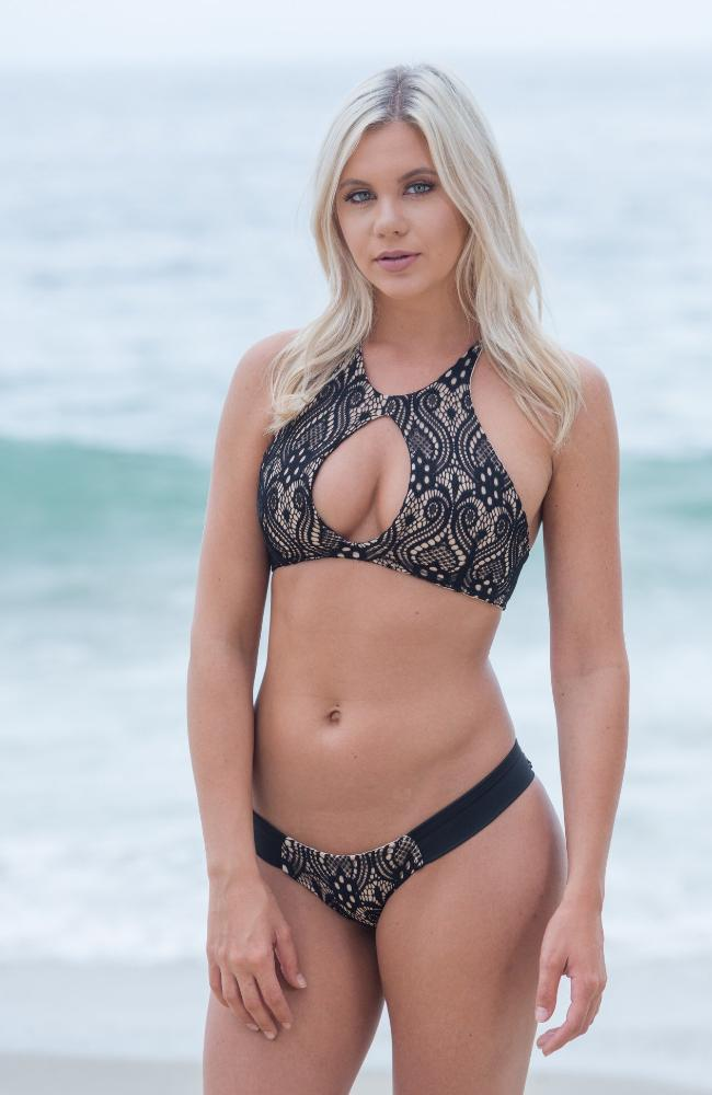 Black Lace Knit, Key Hole Bikini Top