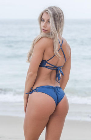 Navy Lace Up Bikini Bottom made by SULTRY SWIMWEAR®