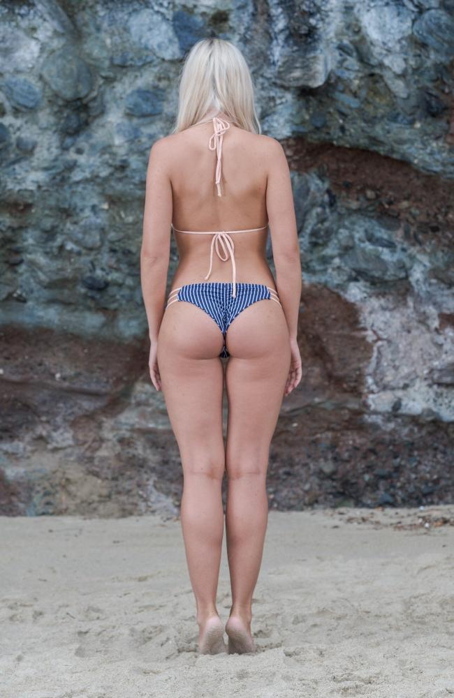 Our Skye Bottom in Navy and White Pin Stripes, Peach Braided Bands, made by Sultry Swimwear®