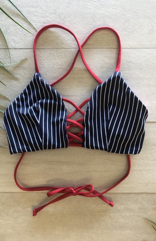 Our Lace Up Bikini Top in Red made by SULTRY SWIMWEAR®